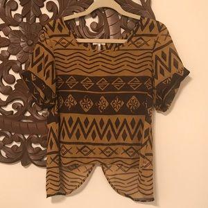 Kirra tan and brown blouse size medium
